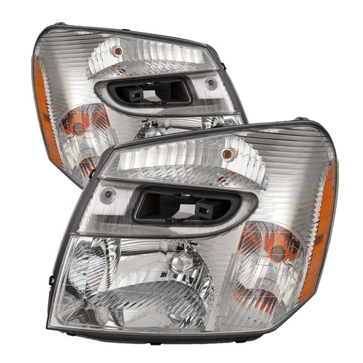 Headlights Set Halogen Chrome Fits 2005-2009 Chevy Equinox