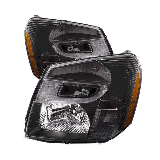 PERDE 2005-2009 Chevrolet Equinox Black Headlights Left Driver Right Passenger Headlamps Pair Assembly