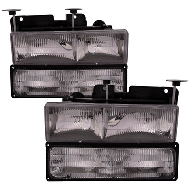 Headlight Halogen Chrome 4-Piece Stock Style Set Fits 1994-1999 Chevrolet Truck
