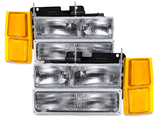 Headlights Halogen Assembly 8PC Set Driver Left Passenger Right Pair OEM Style Fits 1994-1999 Chevy Silverado Suburban Blazer