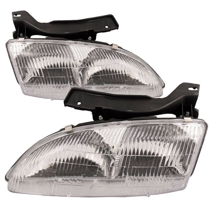 Headlights Halogen Set Driver Left Passenger Right Pair Assembly Fits 1995-1999 Chevrolet Cavalier