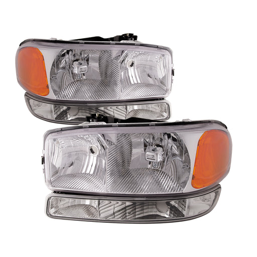 Headlights Halogen Chrome Amber Left Driver Right Passenger Set w/Clear Lens Assembly Fits 1999-2006 GMC Sierra