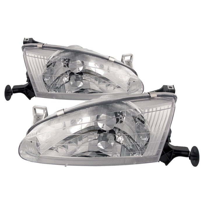 Headlights Halogen Chrome Pair Driver Left Passenger Right Set Fits 1998-2002 Chevy Geo Prizm
