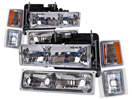 1994-1998 Chevy Truck 8-Piece Euro Set w/Amber Corners and Xenon Bulbs