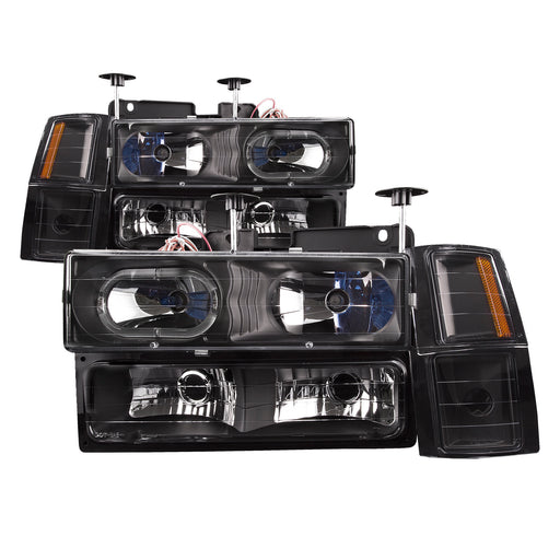 1994-1998 Chevy Silverado/Truck 8-Piece Headlights Black Housing Set w/Xenon Bulbs Headlamp Assembly Pair