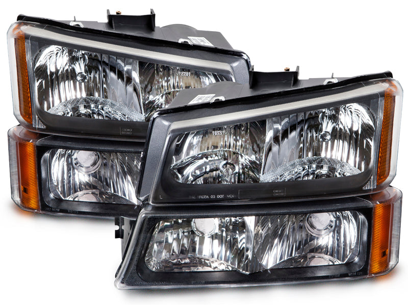 Headlights Black Housing 4 Piece Set Driver and Passenger Pair Fits 2003-2004 Silverado and 2003-2006 Chevrolet Avalanche 1500/2500
