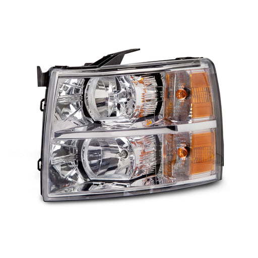 Headlight Halogen Driver Left Fits 2007-2013 Chevrolet Silverado 1500, 2007-2014 Chevrolet Silverado 2500 HD/3500/3500 HD. (Check Fitment Before Purchase)