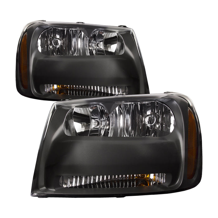 Headlight Set Left Driver Right Passenger Side Assembly For Chevrolet Trailblazer 2006-2009 LT Model Halogen