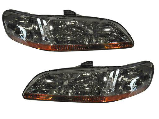 1998-2002 Honda Accord Chrome Headlights Set w/Amber Reflectors & Smoked Lens