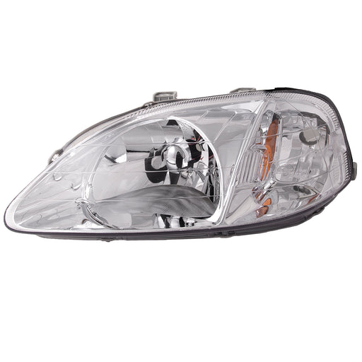 Headlights Halogen Chrome Left Driver Assembly Fits 1999-2000 Honda Civic. This assembly will install just like the original. You can use the existing hardware and wire harness. Save time and money with this direct fit replacement.