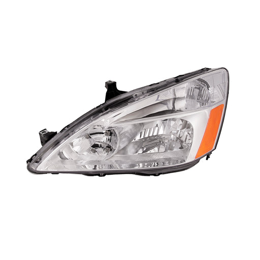 Headlight Driver Left Halogen Chrome w/Amber/Clear Lens For 2003-2007 Honda Accord