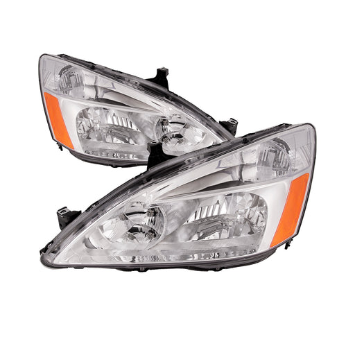 Headlights Halogen Chrome w/Amber/Clear Lens Set Driver Left Passenger Right Pair Fits 2003-2007 Honda Accord