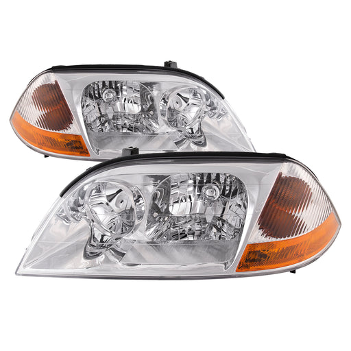 Headlights Set Chrome Halogen 4-Door Fits 2001-2003 Acura MDX Base/Touring