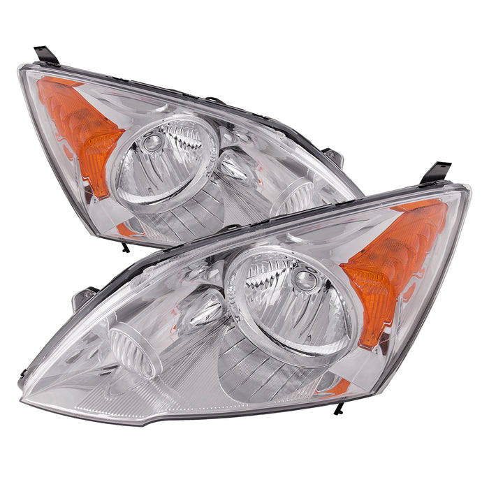 Headlights Halogen Chrome Set Left Driver Right Passenger Pair Fits 2007-2011 Honda CR-V Sedan. Does Not Include Bulbs.