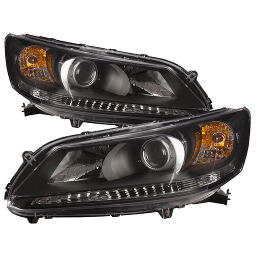 Headlight Pair Left Driver Right Passenger Side Assembly Replacement For Honda Accord Sedan 2013-2015