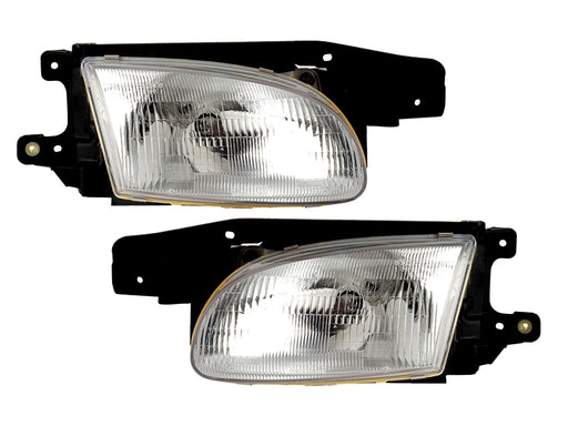 Headlights Set Left Driver Right Passenger Pair Fits 1998-1999 Hyundai Accent