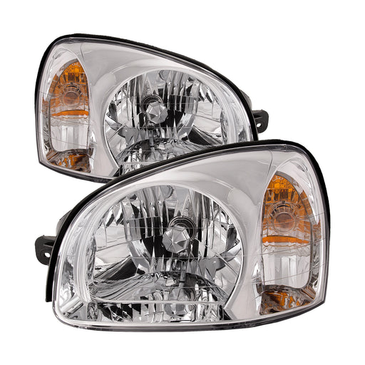 Headlights Set Halogen Chrome Fits 2003-2006 Hyundai Santa Fe