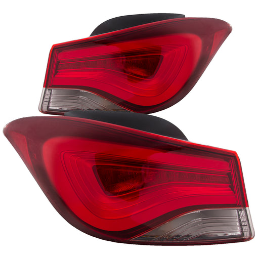 Tail Lights Set LED Type Right Passenger Left Driver Left Korea Built Pair Fits 2011-2016 Hyundai Elantra /2014 Coupe Only