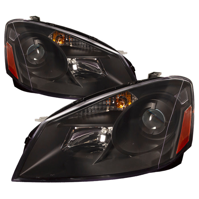 Headlight Assembly Projector Black Pair Driver and Passenger Side Fits 2005-2006 Nissan Altima