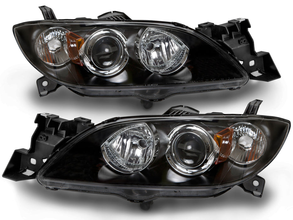 PERDE Headlights Halogen Set w/Performance Lens Black Housing Driver Left Passenger Right Pair. Fits Sedans ONLY