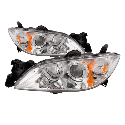 PERDE 2004-2009 Mazda 3 Sedan Clear Lens Chrome Halogen Headlights Set (w/o Bulbs)