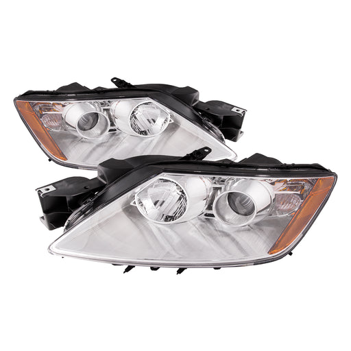 PERDE Chrome Projector Headlight Set Fits 2007-2011 Mazda CX-7 With Factory-Equipped Halogen Headlamps