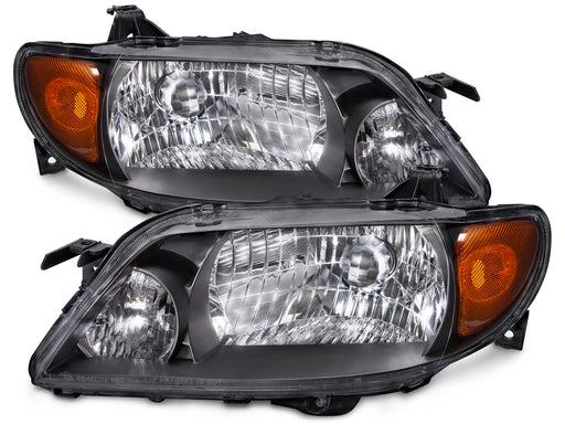 Headlights Set w/Metal Bezel Right Passenger Left Driver Pair Fits 2001-2003 Mazda Protege (4-Door Sedan Only)