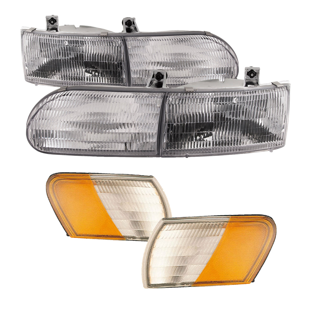 Upper and Lower Left and Right Chrome Housing Headlight For 1994-2000 Fleetwood American Tradition Motorhome RV