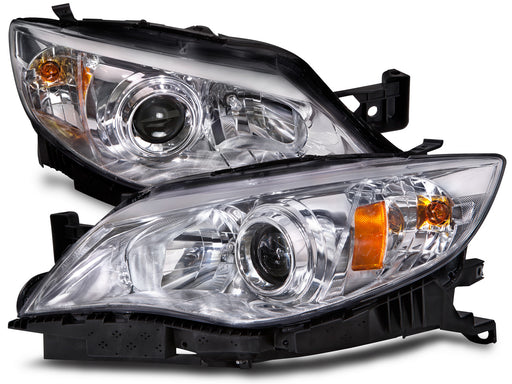 Headlights Set Chrome Halogen Fits 2008-2009 Subaru Impreza/2008 Outback Sport Model/2009 2.5gt