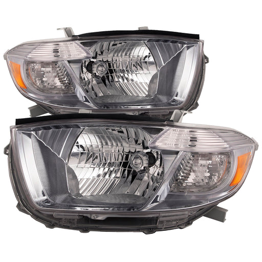 Headlights Black Set Passenger Right Left Driver Pair Assembly Fits 2008-2010 Toyota Highlander Sport Model (Japan Built)