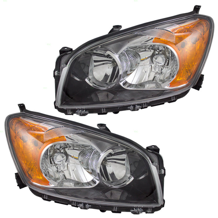 2009-2012 Toyota Rav-4 Sport Model Halogen (Non-HID) Headlights Set Black Housing Headlamp Pair Assembly