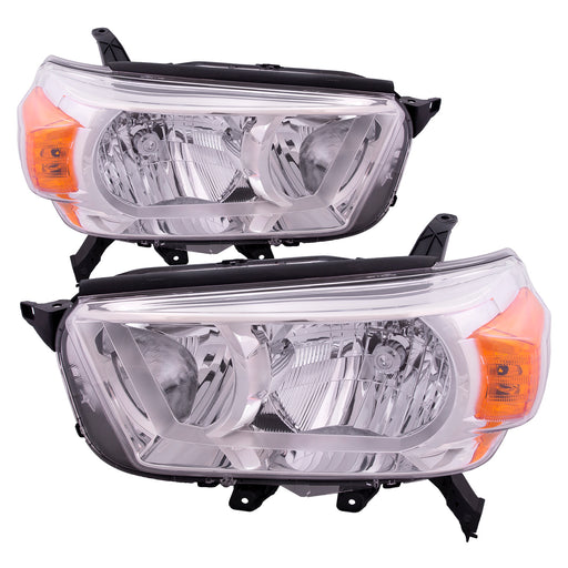 Headlights Set Halogen (w/o Trail Package) Driver Left Passenger Right Pair Fits 2010-2013 Toyota 4Runner Limited SR5 Model