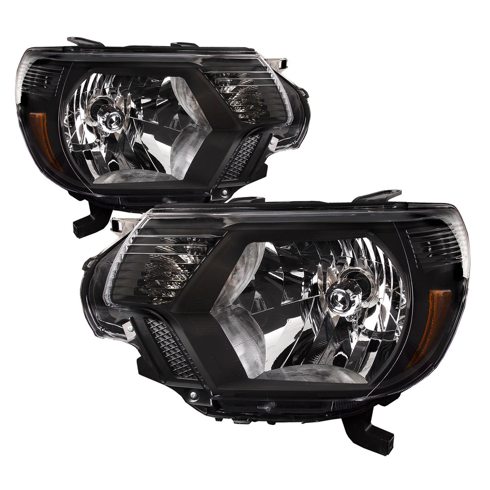 Headlights Halogen Black Set Driver Left Passenger Right Pair Fits 2012-2015 Toyota Tacoma