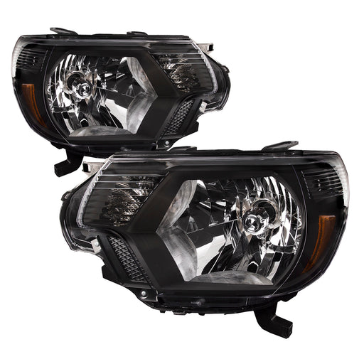 Headlights Halogen Black Set Driver Left Passenger Right Pair Fits 2012-2015 Toyota Tacoma TRD