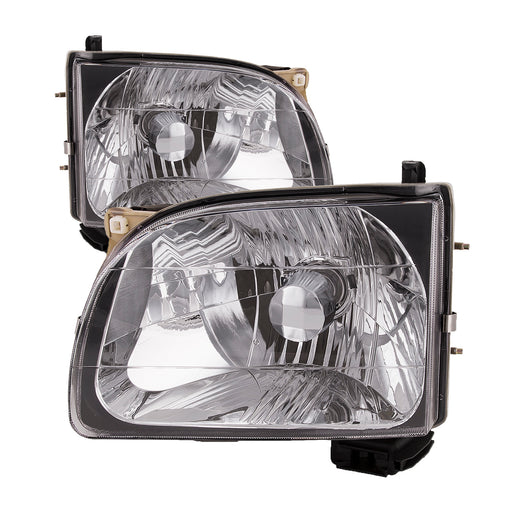 Headlights Set Halogen Chrome Left Driver Right Passenger Pair Fits 2001-2004 Toyota Tacoma Pickup 2WD