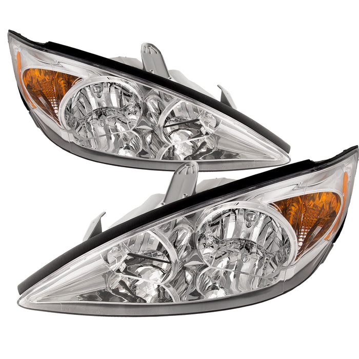 Headlights Set Halogen Chrome w/Clear Lens Left Driver Right Passenger Pair Assembly 2002-2004 Toyota Camry LE/XLE