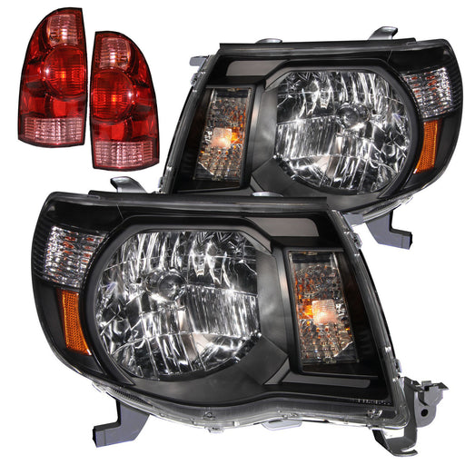 Headlights Set w/Tail Lights 4-Piece Black Housing Pair Fits 2005-2011 Toyota Tacoma