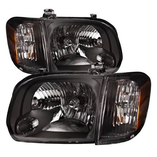 2005-2007 Toyota Sequoia/2005-2007 Tundra (Fits Double Cab Only) 4pcs Headlights Set Left Right Pair With Corner Lights