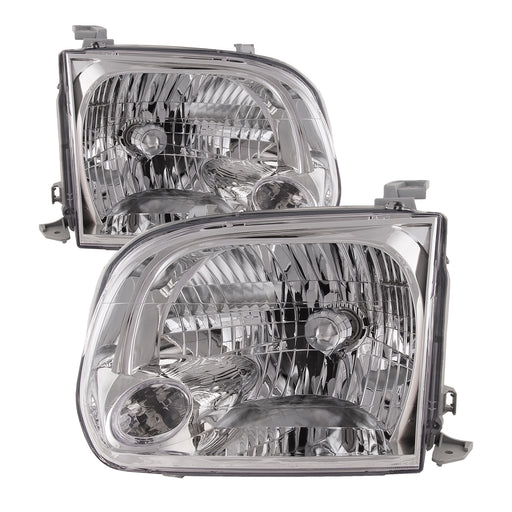 Headlights Halogen Chrome Set Left Driver Right Passenger Pair Fits 2005-2007 Toyota Sequoia/2005-2006 Tundra (Fits Double Cab Only)