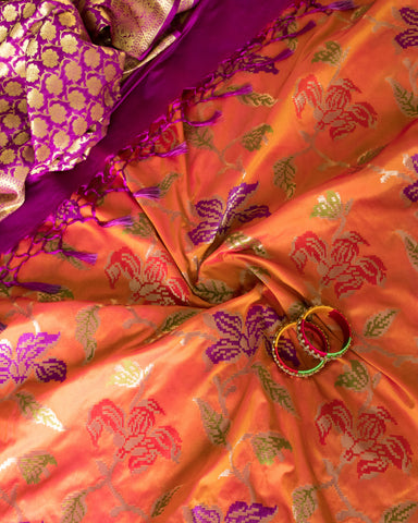 Banarasee Thin Silk Meenakari Fabric 110