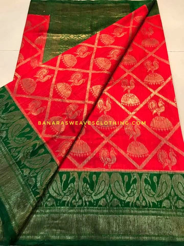 Banarasee Pure Kora Silk Saree 074