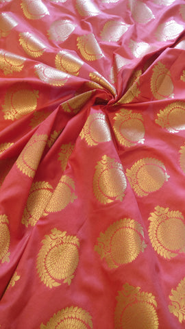 Banarasee Thin Silk Zari Buta Fabric- 050