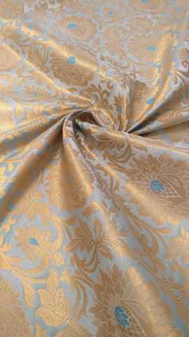 Banarasee Satin Broacde Silk Zari Jaal Fabric- 039