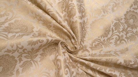 Banarasee Satin Brocade Silk Zari Jaal Fabric- 038