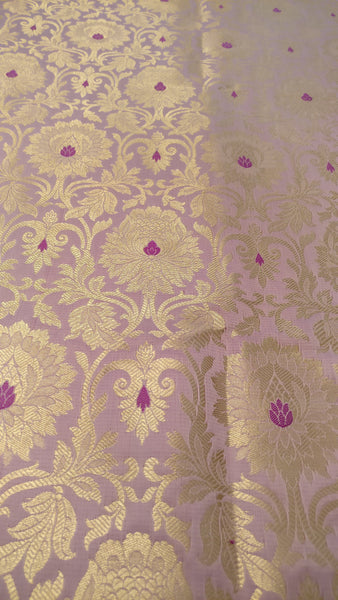 Banarasee Satin Brocade Silk Zari Jaal Fabric-042