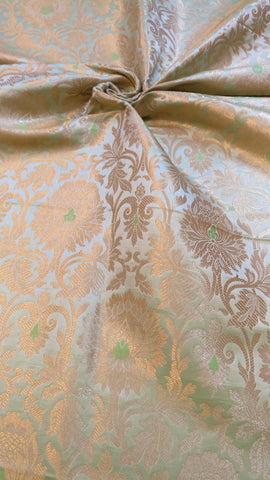 Banarasee Satin Brocade Silk Zari Jaal Fabric - 035