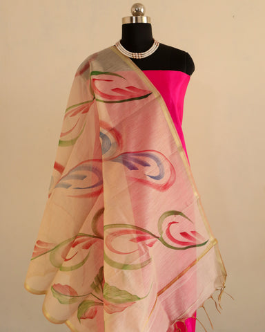 Banarasee Pure Cotton Silk Hand-Painted Dupatta 758