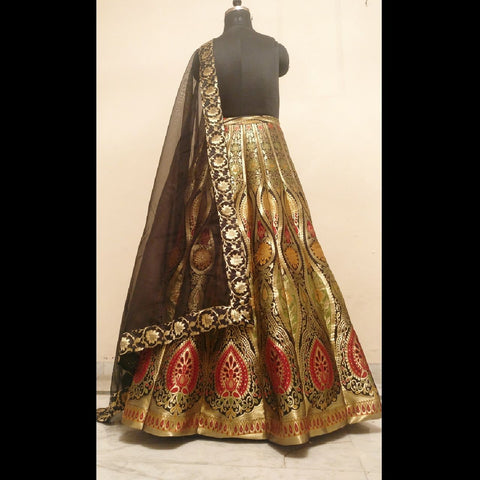 BANARASEE MEENAKARI KALIDAAR SILK LEHENGA 019- Made to Measure