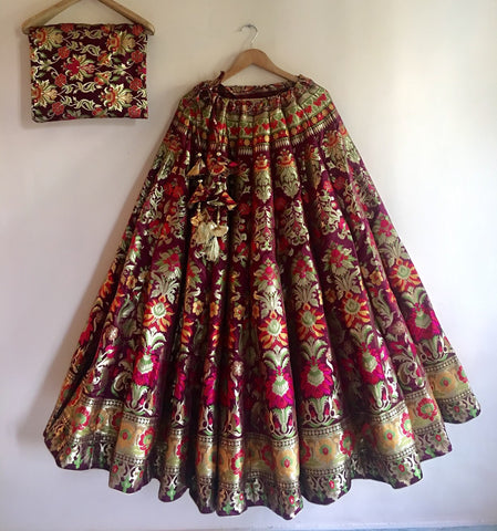 BANARASEE SILK KALIDAAR LEHENGA -035- MADE TO MEASURE