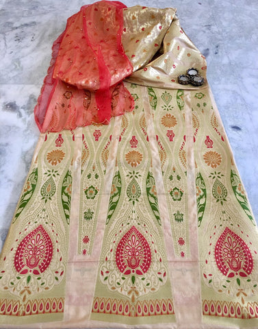 BANARASEE MEENAKARI KALIDAAR SILK LEHENGA 013- Made to Measure